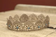 Handpainted Lace Newborn Crown Vintage Gold w/Blue Rhinestone Accents - Perfect Photography Prop by Hoo Loves You Baby