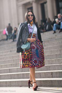 BLK DNM Biker Leather Jacket & Stella Jean Printed Skirt