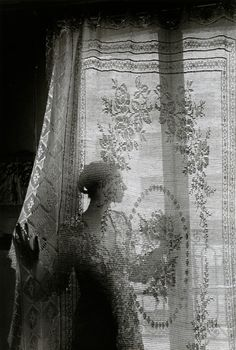 curtain, window, black and white, photography