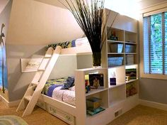 twin over double bed with headboard storage divider wall