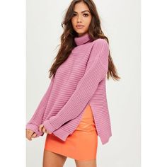 Missguided Roll Neck Step Hem Knitted Sweater ($38) ❤ liked on Polyvore featuring tops, sweaters, pink, roll neck sweater, roll neck top, pink top, pink sweater and thick sweaters