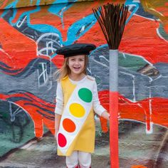 Make a watercolor paint box kids Halloween costume for your little artist with a handmade beret and paint brush made from a pool noodle