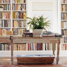 A Personal Library-love the book-filled basket underneath the desk. #rentaloffice