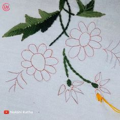 Hand Embroidery Flower Designs, Hand Embroidery Tutorial, Simple Embroidery, Embroidery Suits, Designs For Dresses, Diy Flowers, Needlework, Knitting Patterns, Diy And Crafts