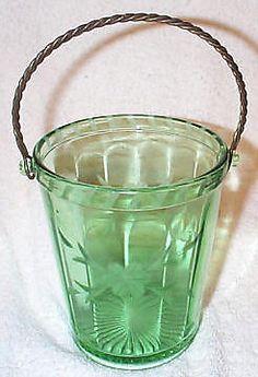 Beautiful Green Depression Ice Bucket