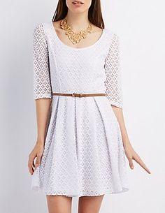 53592cad69c13 Belted Crochet Skater Dress  CharlotteLook White Skater Dresses