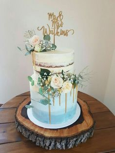 Birthday cake blue flowers pink 18 new Ideas 2 Tier Wedding Cakes, Buttercream Wedding Cake, Wedding Cake Rustic, Wedding Cake Designs, Gold Wedding, Blue Drip Cake, Baby Shower Cakes For Boys, Naked Cake, Blue Cakes