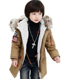 7c368619137 Brown Down Duck Jacket Coat for Toddler Boys Cotton Padded Fur with Hood