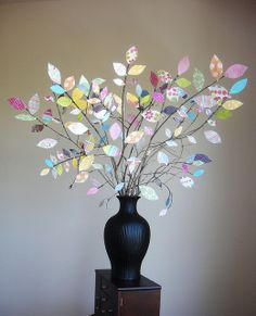 scrap book paper tree would be cute for Easter or Xmas