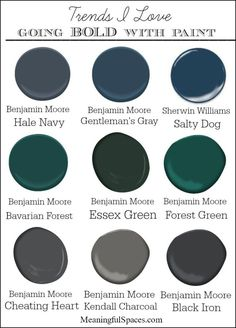 , Bavarian Forest Essex Green Forest Green Cheating Heart Kendall Charcoal Black Iron Lots of bold paint color inspiration photos, along with my favorite go-to bold paints. Green Paint Colors, Bedroom Paint Colors, Interior Paint Colors, Paint Colors For Home, Wall Colors, House Colors, Interior Design, Teal Paint, Office Paint Colors