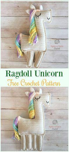 Crochet Ragdoll Unicorn Amigurumi Free Pattern- #Amigurumi Crochet #Unicorn; Toy Softies Patterns