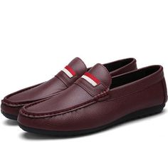 Men British Style Pure Color Doug Shoes Flat Slip On Casual Loafers
