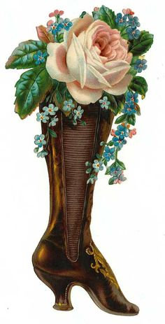 Victorian Boot with Roses Scrap