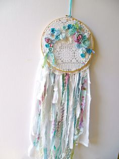 Boho Baby Dream Catcher. French Gypsy Nursery Dream Catcher, Mobile. Turquoise Bohemian Dorm Room Decor. Boho Chic Wall Hanging, Art, Decor.