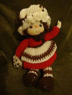 Vintage-14-Hand-Crocheted-Doll-CHOCOLATE-CHIP-COOKIE-NEW-from-storage