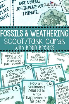 Fossils and Weathering Scoot Game/Task Cards Critical Thinking Activities, Critical Thinking Skills, Science Lessons, Science Activities, Classroom Hacks, Whole Brain Teaching, Renewable Sources Of Energy, Academic Writing, Learning Styles