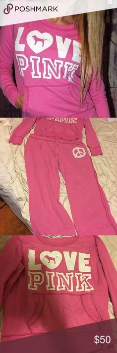 Victoria's Secret Pink Sweatshirt & Sweatpants Victoria's Secret Pink Sweatshirt & Sweatpants Size Medium, in great condition! Super cute! PINK Victoria's Secret Sweaters
