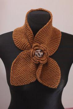 Scarf, OOAK short scarf, knit scarf, ginger scarf, neck warmer, knitwear
