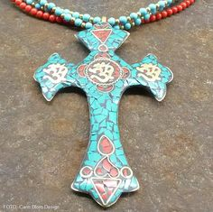 Handmade turquoise coral brass Nepalese cross AUM meditation sign necklace