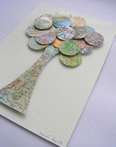 Simple tree made from maps and circles - neat art project to break up the ol' sit, stare & vegetate routine! Get the kids moving!