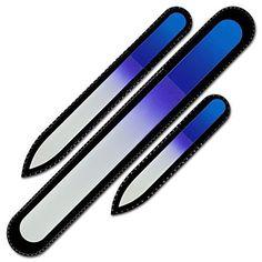 Mont Bleu Premium Set of 3 Crystal Nail Files in Velvet Pouch, Rainbow Colors, Genuine Czech Tempered Glass - Lifetim...