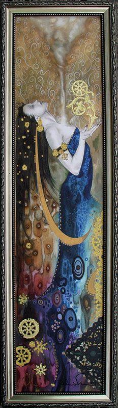 "Tom Fleming ~ ""Spirit & Life"" Looks like Klimt Gustav Klimt, Art Nouveau, Wow Art, Pics Art, Oeuvre D'art, Painting & Drawing, Silk Painting, Printmaking, Amazing Art"