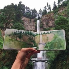 teacher Hannah Jesus Koh paints landscapes using water found at her destinations. Pictured: Multnomah Falls, Oregon, which is just twenty minutes up river from where I live. Watercolor Journal, Watercolor Paintings, Watercolors, Watercolor Trees, Watercolor Portraits, Abstract Paintings, Art Paintings, Art Et Design, Drawn Art