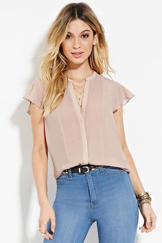 Pintucked Chiffon Blouse - Tops - 2000183236 - Forever 21 EU English