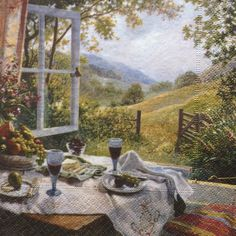 Single(one)napkin window landscape painting ,for decoupage, decoupage under glass, mixed media, scrapbooking and other art and crafts door Dalilasdecoupage op Etsy