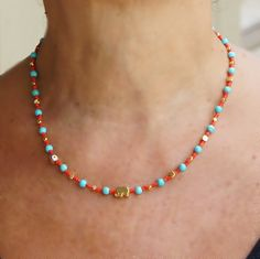 Turquoise and Coral Necklace Evil eye and elephant by CharmByIA