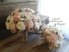 Ships in 3 weeks ~~~ Rustic Garden Pink Wedding Bouquet, Sola Flowers, Burlap, Lace. Available in small, medium or large.