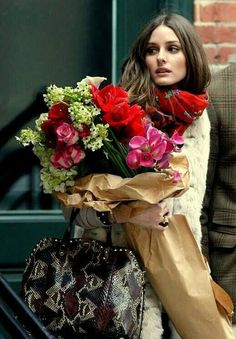 Going home with flowers.