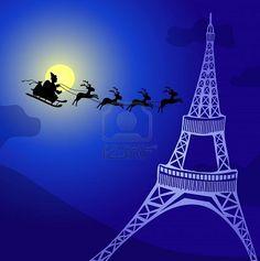 Christmas card ~ Santa and sleigh ride past the Eiffel Tower