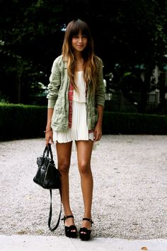 Green Army Jacket over pleated white dress