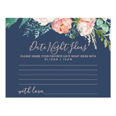 Romantic Peonies | Blue Date Night Idea Cards - gold wedding gifts customize marriage diy unique golden #weddingideas