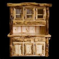 gnarly aspen 3 bay buffet hutch log cabin decor log aspen furniture - Lodge Furniture