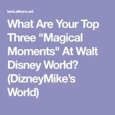 """What Are Your Top Three """"Magical Moments"""" At Walt Disney World? (DizneyMike's World)"""