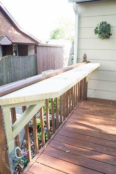 placing ledge for flip up deck bar
