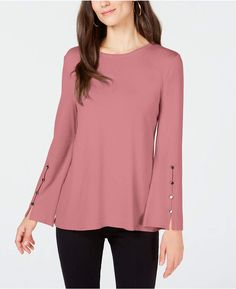 Alfani Hardware-Sleeve Top, Created for Macy's - Pink XXL Macys Womens Clothing, Girls Top Design, Latest Top Designs, Blouses For Women, Sweaters For Women, Stylish Outfits, Fashion Outfits, Kurti Designs Party Wear, Mode Hijab