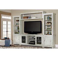 Willow 4-Piece Entertainment Center in Distressed White | Nebraska Furniture Mart