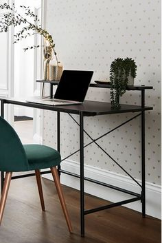 Buy Carter Desk from the Next UK online shop – Furnishing Tips Home Desk, Home Office Desks, Office Decor, Home Living Room, Living Room Furniture, Kitchen Furniture, White Studio Apartment, Retro Desk, Black Desk