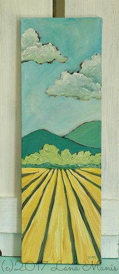 Image of Ready to Harvest - 8 x 24 acrylic painting on canvas - landscape, fields, trees, mountains, sky - Lana Manis