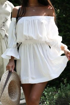 Shopping Off Shoulder Plain Bell Sleeve Long Sleeve Casual Dresses online with high-quality and best prices Casual Dresses at Luvyle. Day Dresses, Cute Dresses, Casual Dresses, Short Dresses, Summer Dresses, Mini Dresses, Summer Outfit, Sleeve Dresses, Prom Party Dresses