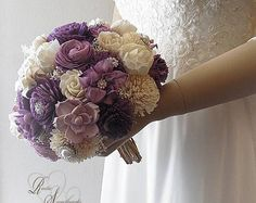 Free Shipping ~ Ready to Ship ~ Light Purple, Dark Purple & Ivory Sola Flower Bridal Bouquet, Peony Sola Bouquet with Rhinestones
