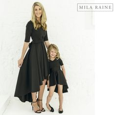 Beautiful black matching cascade dresses for mothers and their little girls! My Mom, I Dress, My Outfit, Mothers, Little Girls, High Low, Beautiful, Black, Dresses