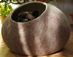 Cat House Bed Cave FREE SHIPPING Handmade Ecological Sheep Wool Color Sand Brown Size L Large * Check out this great product.