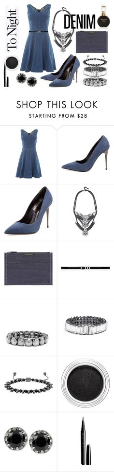 """denim's night out"" by okkaterina ❤ liked on Polyvore featuring Calvin Klein, Tom Ford, BaubleBar, Givenchy, Yves Saint Laurent, Clarins, Betsey Johnson, Marc Jacobs, River Island and Denimondenim"