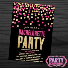 PRINTABLE INVITATION  Bachelorette Hens  Pink by PartyHeadquarters Hen Night Ideas, Hens Night, Bachlorette Party, Bachelorette Party Invitations, Printable Invitations, Printables, Work Inspiration, Maid Of Honor, Invitation Design