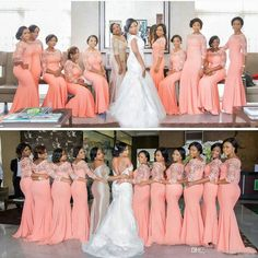 Elegant Coral Long Bridesmaid Dress With Sleeves Plus Size Lace Mermaid  Party Dress Beautiful Bridemaid Dresses fedf77d495f9
