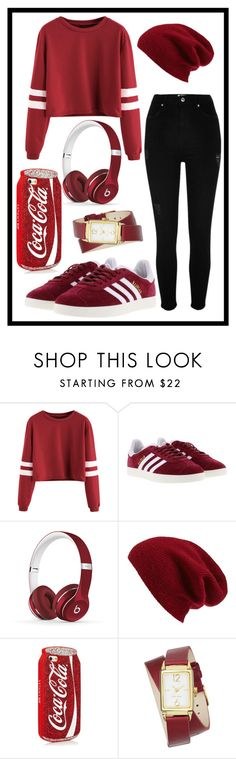 """424: Red"" by alinepelle ❤ liked on Polyvore featuring adidas, Beats by Dr. Dre, Halogen, Nine West and River Island"